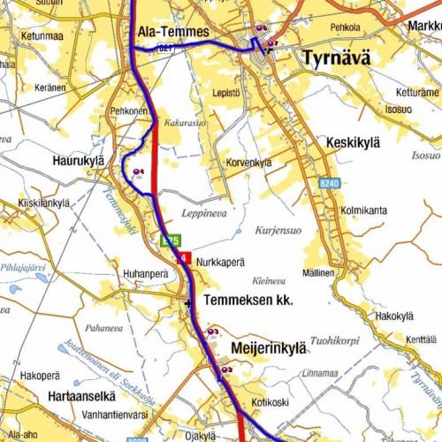 Tyrnävän Korvenkylä Tyrnävän Keskikylän ja Tyrnävän Haurukylän välissä